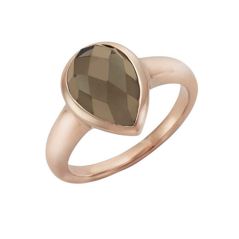Jamelli Fingerring »925/- Sterling Silber rotverg. Rauchquarz«, Ring