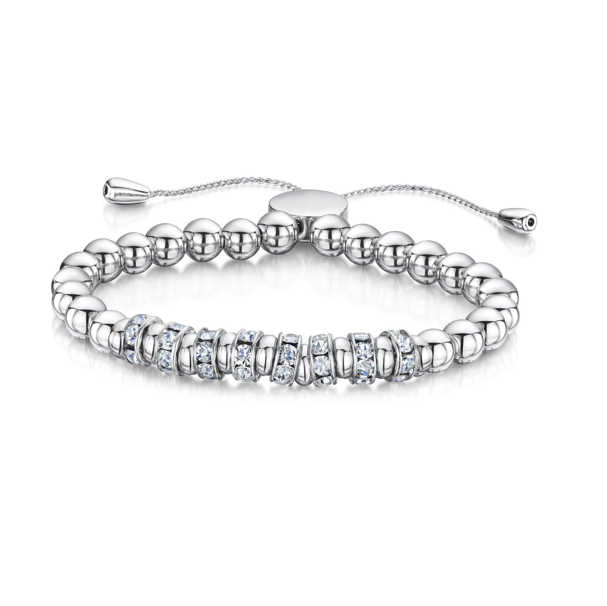 Buckley London Armband »Messing rhodiniert mit Kristallen«