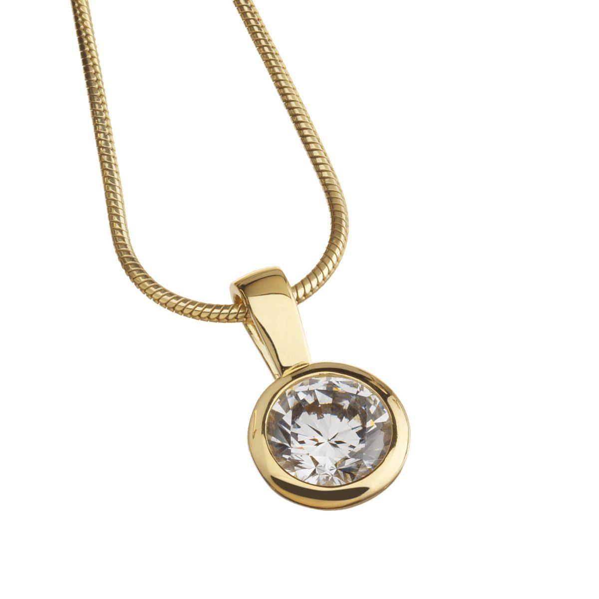 CELESTA Anhänger mit Kette »925/- Sterling Silber gelbvergoldet Zirkonia«