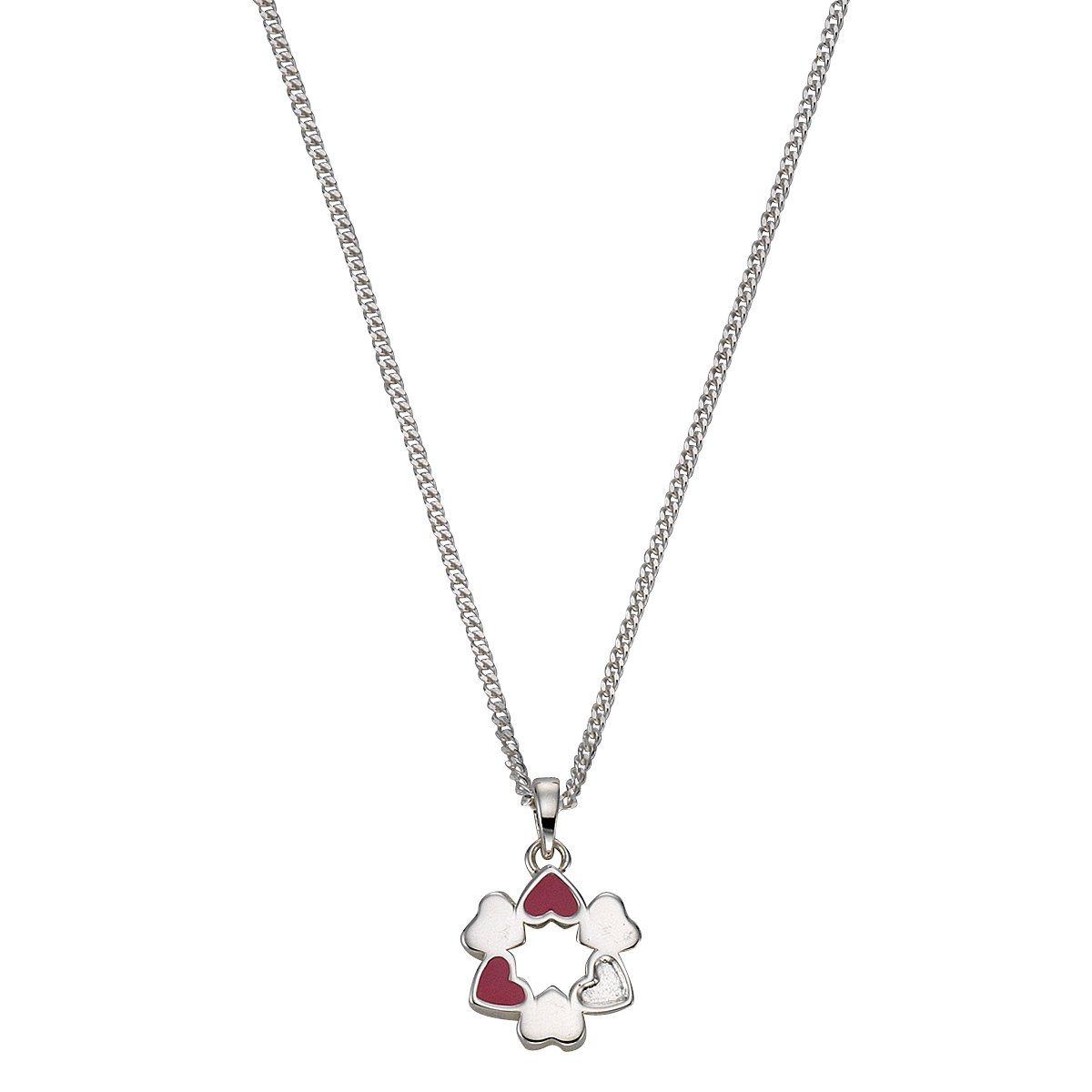 Zeeme Anhänger mit Kette »925/- Sterling Silber Lack Herzen« | Schmuck > Halsketten > Herzketten | Silber - Rosa - Weiß | Zeeme