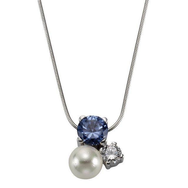 Zeeme Anhänger mit Kette »925/- Sterling Silber Perle Zirkonia«   Schmuck > Halsketten > Silberketten   Zeeme