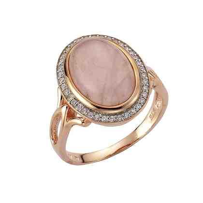 Zeeme Ring »925/- Sterling Silber rotvergoldet Rosenquarz«