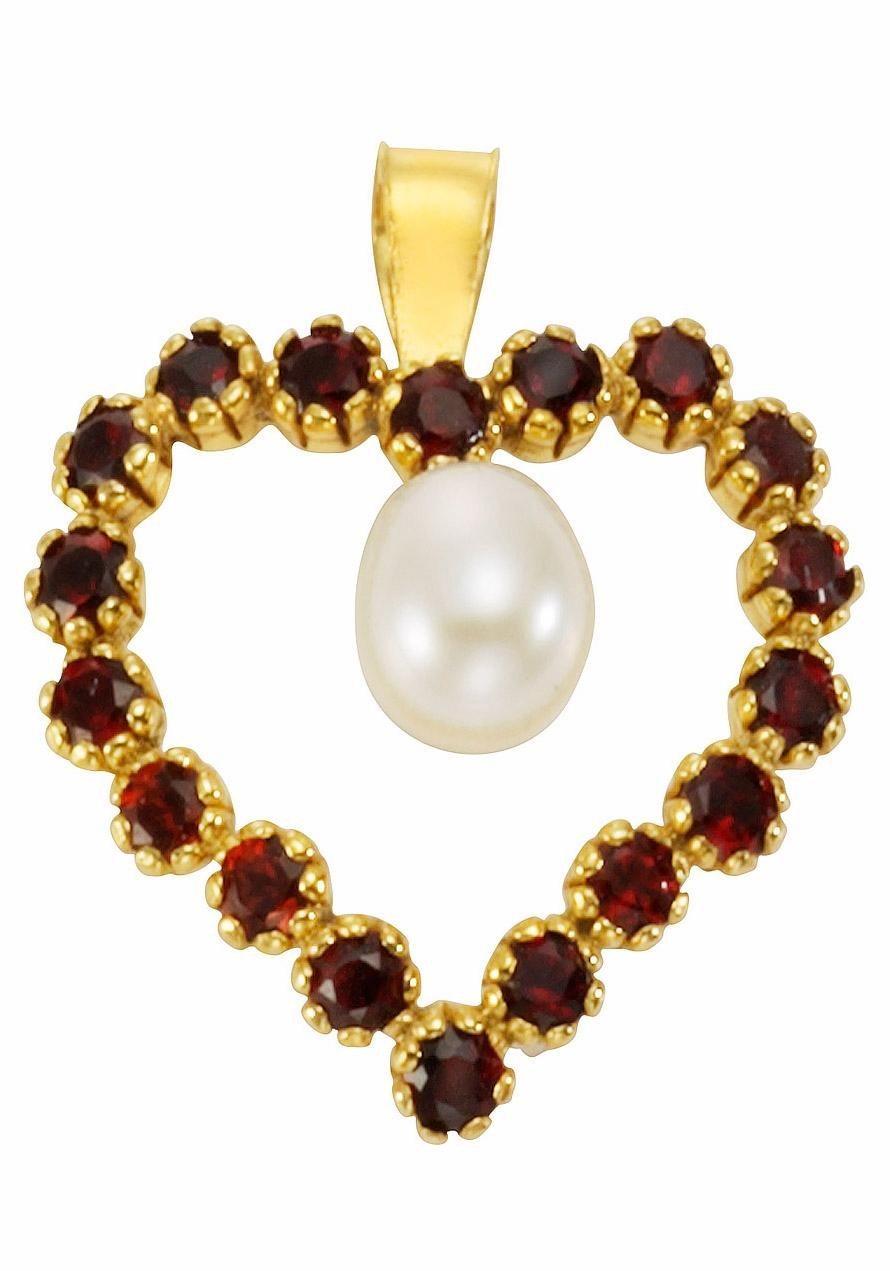 Firetti Herzanhänger »Herz« mit Granat und Süßwasserzuchtperle | Schmuck > Halsketten > Herzketten | Firetti