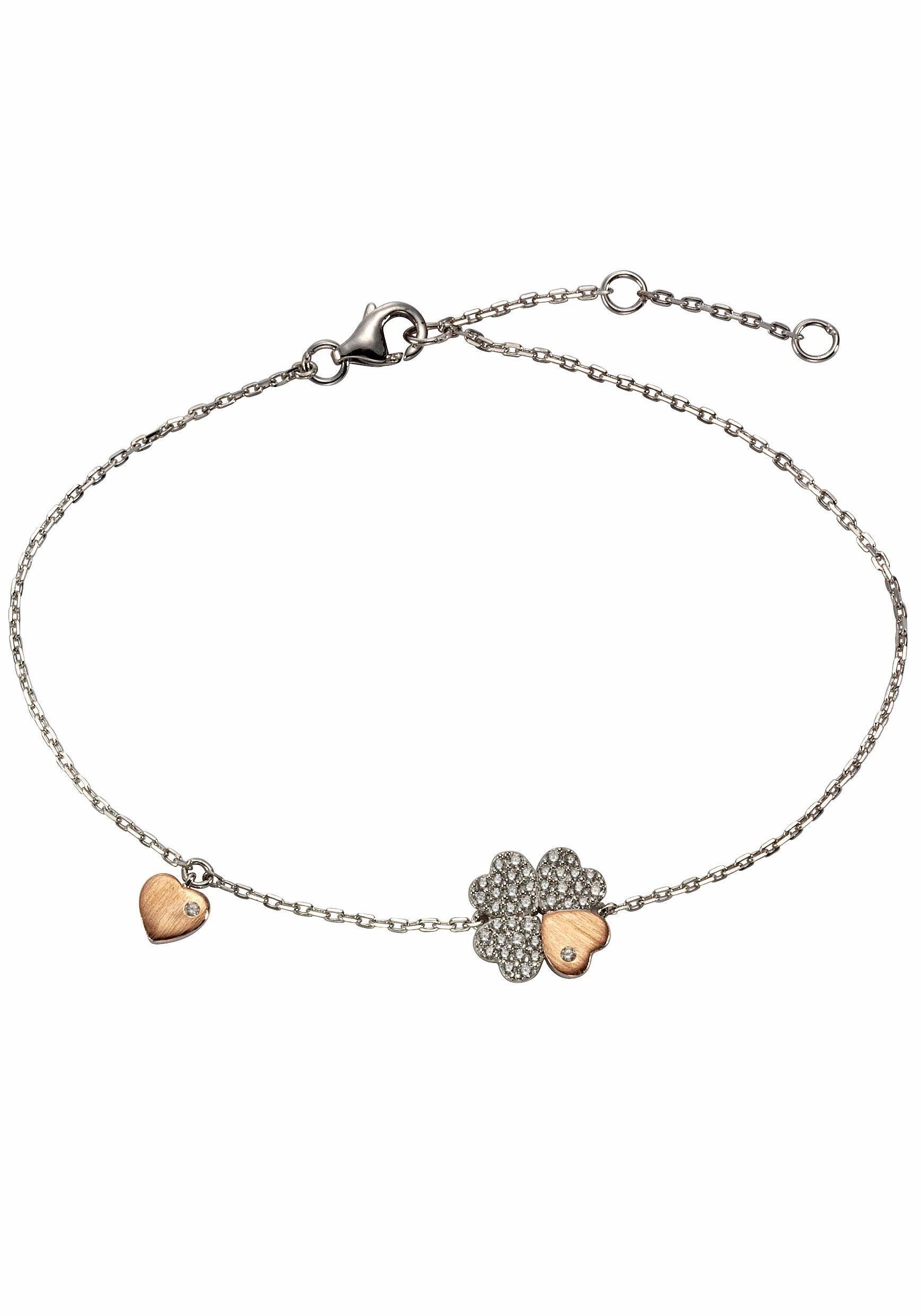 Firetti Armband »Kleeblatt/Herz« mit Zirkonia