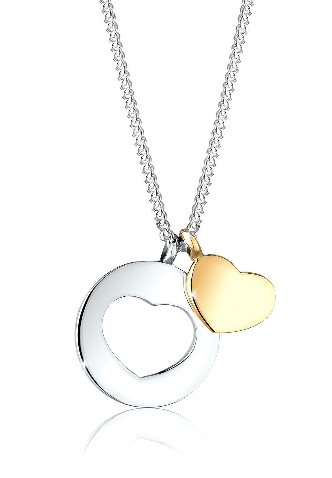 Elli Halskette »Herz Cut-Out Bi-Color 925 Sterling Silber«