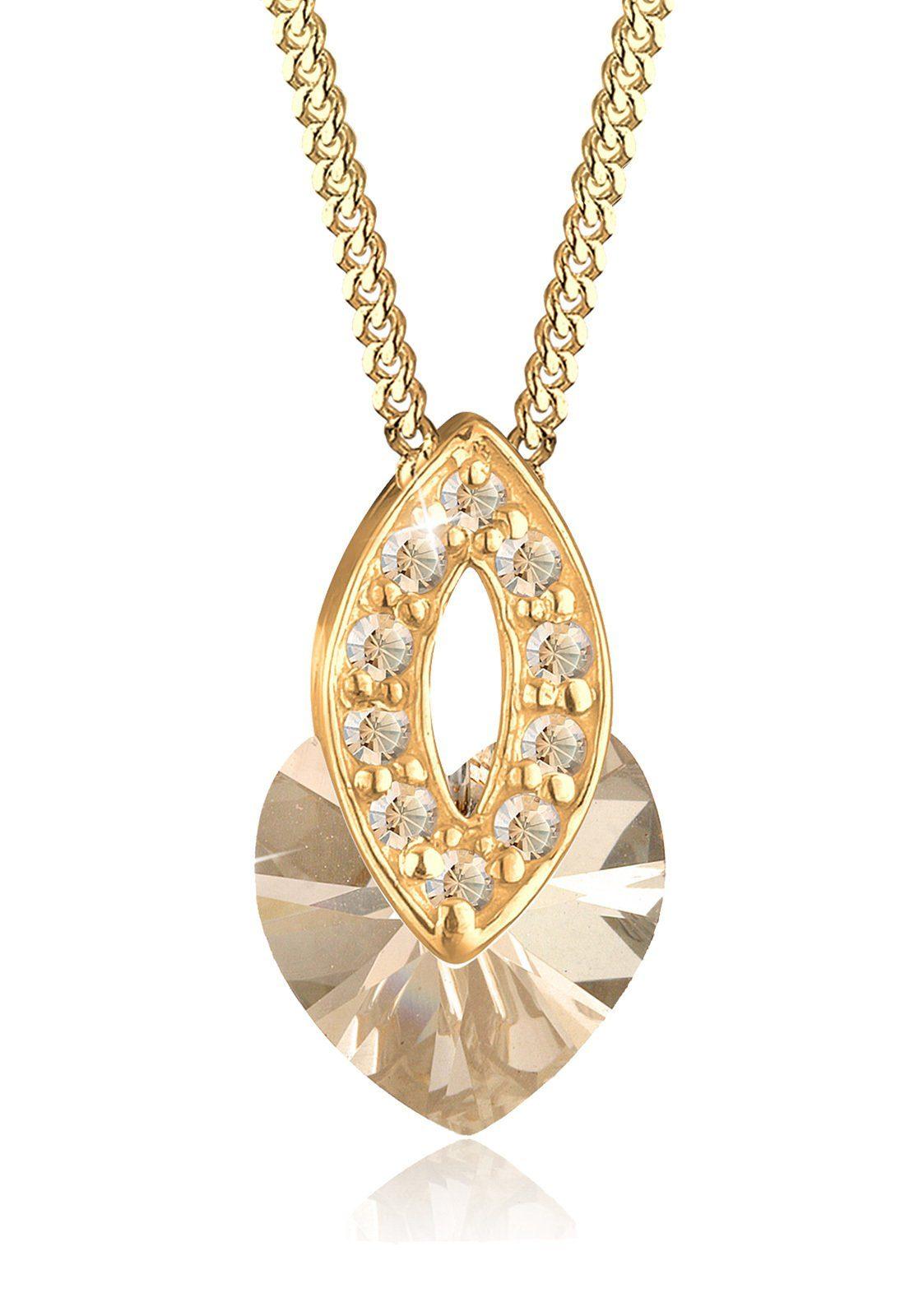 Goldhimmel Halskette »Herz Swarovski Kristalle 925 Sterling Silber S010«