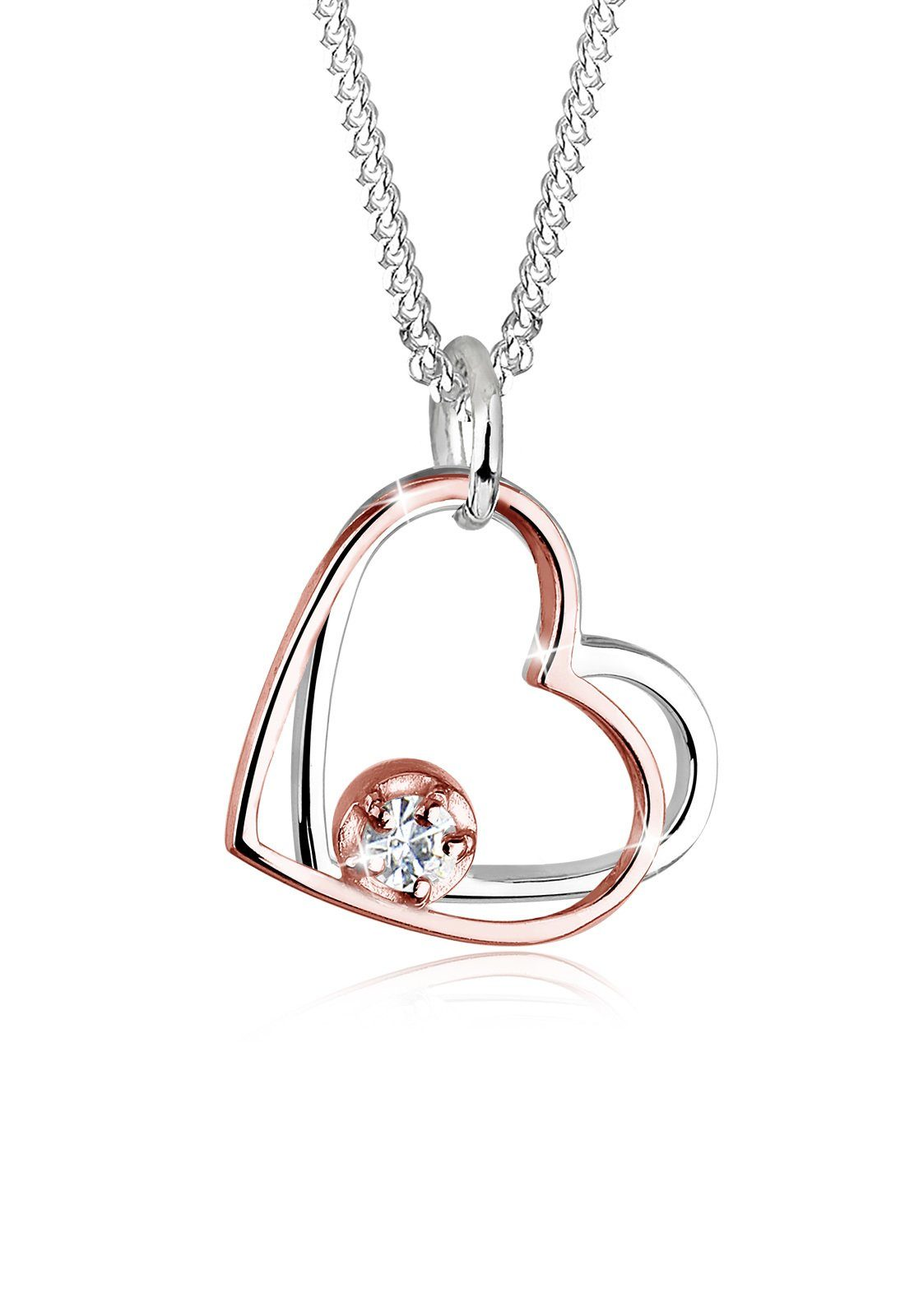 Elli Halskette »Bi-Color Herzen Swarovski® Kristalle Silber Julika«