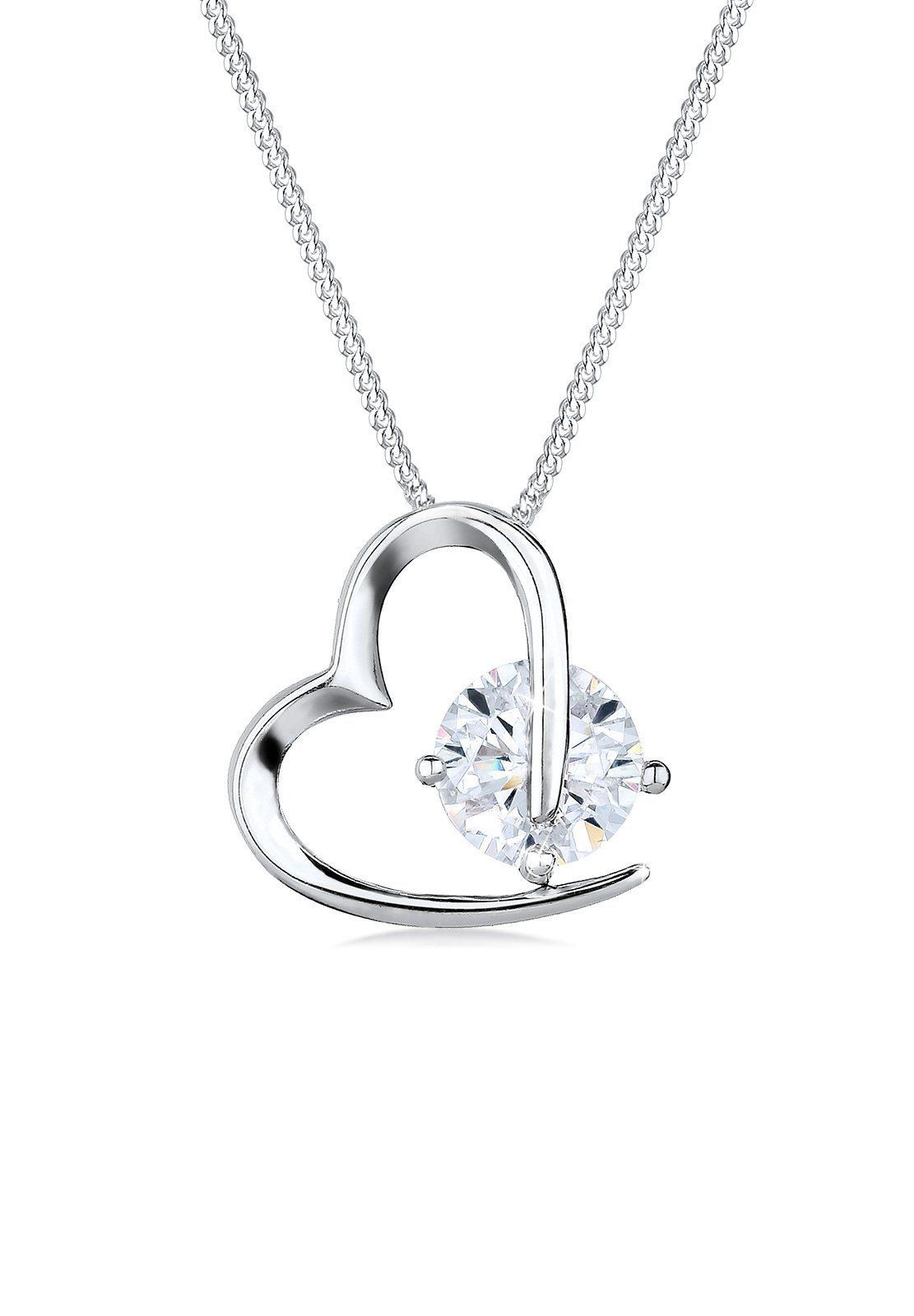 Elli Halskette »Herz Liebe Zirkonia 925 Sterling Silber S011011141«