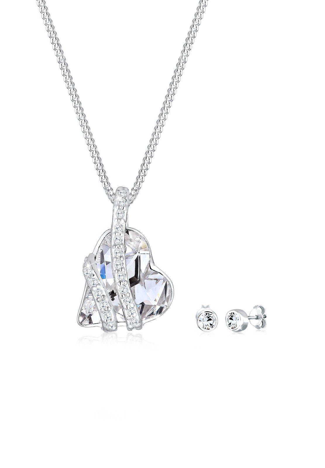 Elli Schmuckset »Herz Liebe Swarovski® Kristalle 925 Silber«