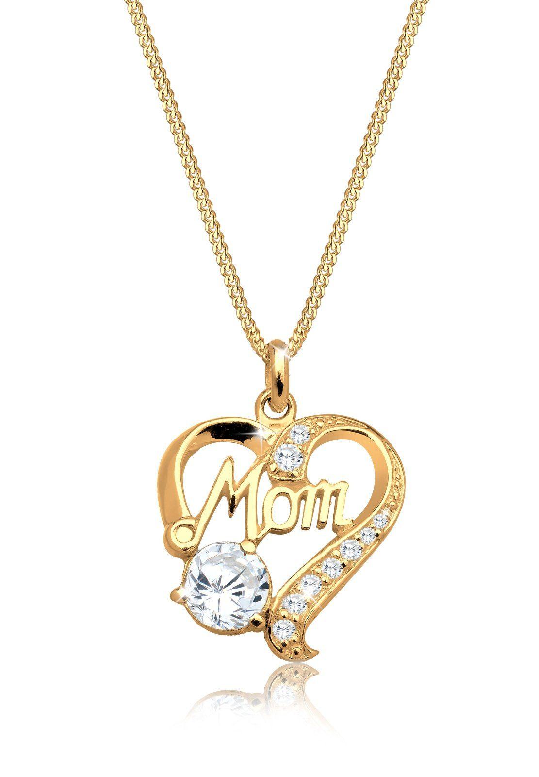Elli Halskette »Herz Mom Schriftzug Zirkonia 925 Silber Roxane«