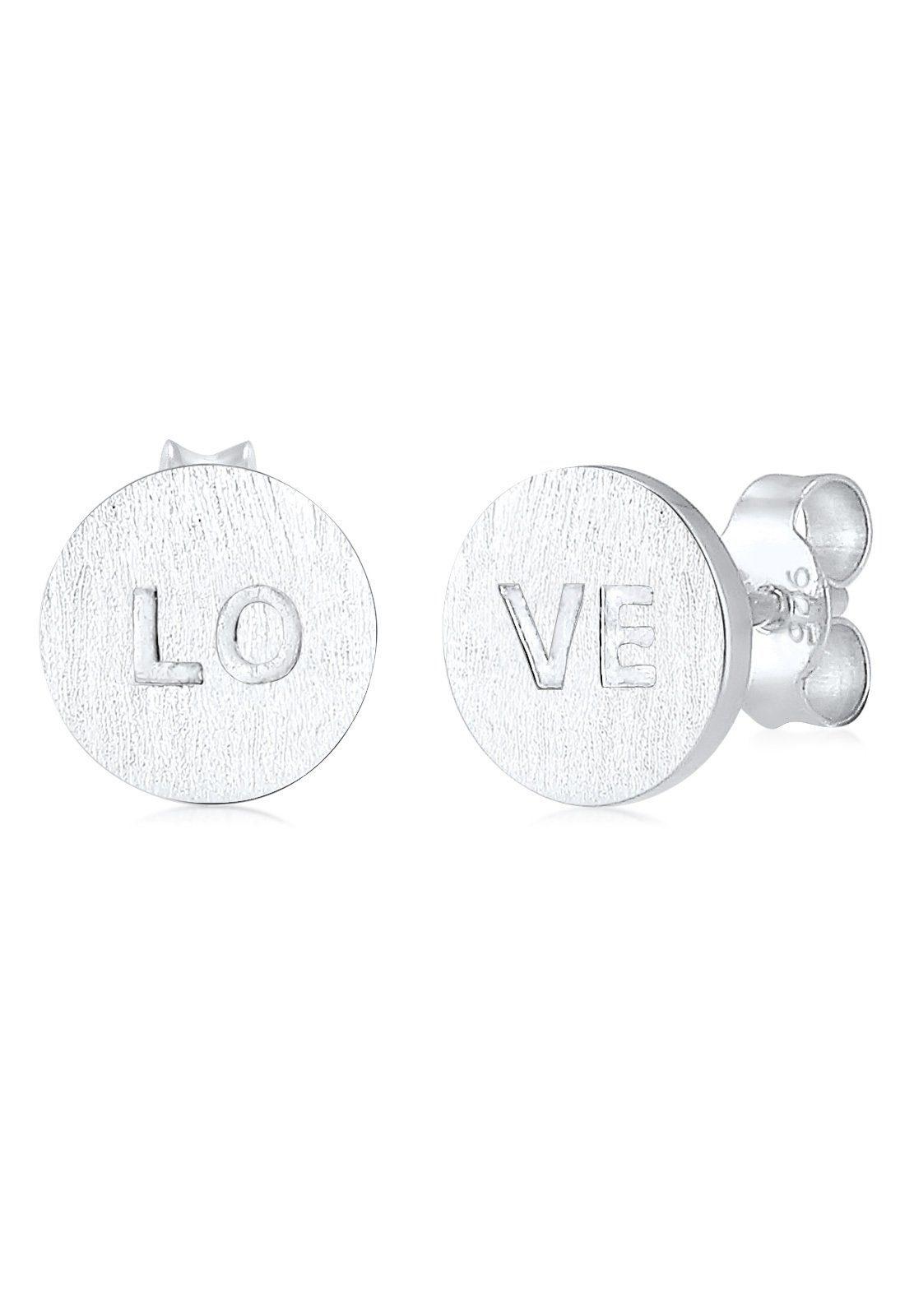 Elli Ohrringe »Love-Schriftzug Liebe matt 925 Sterling Silber«