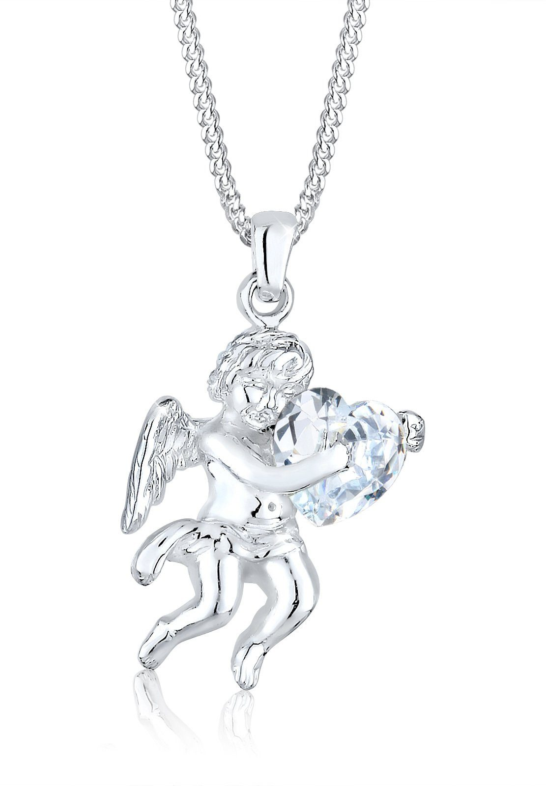 Elli Halskette »Engel Herz Zirkonia 925 Sterling Silber«