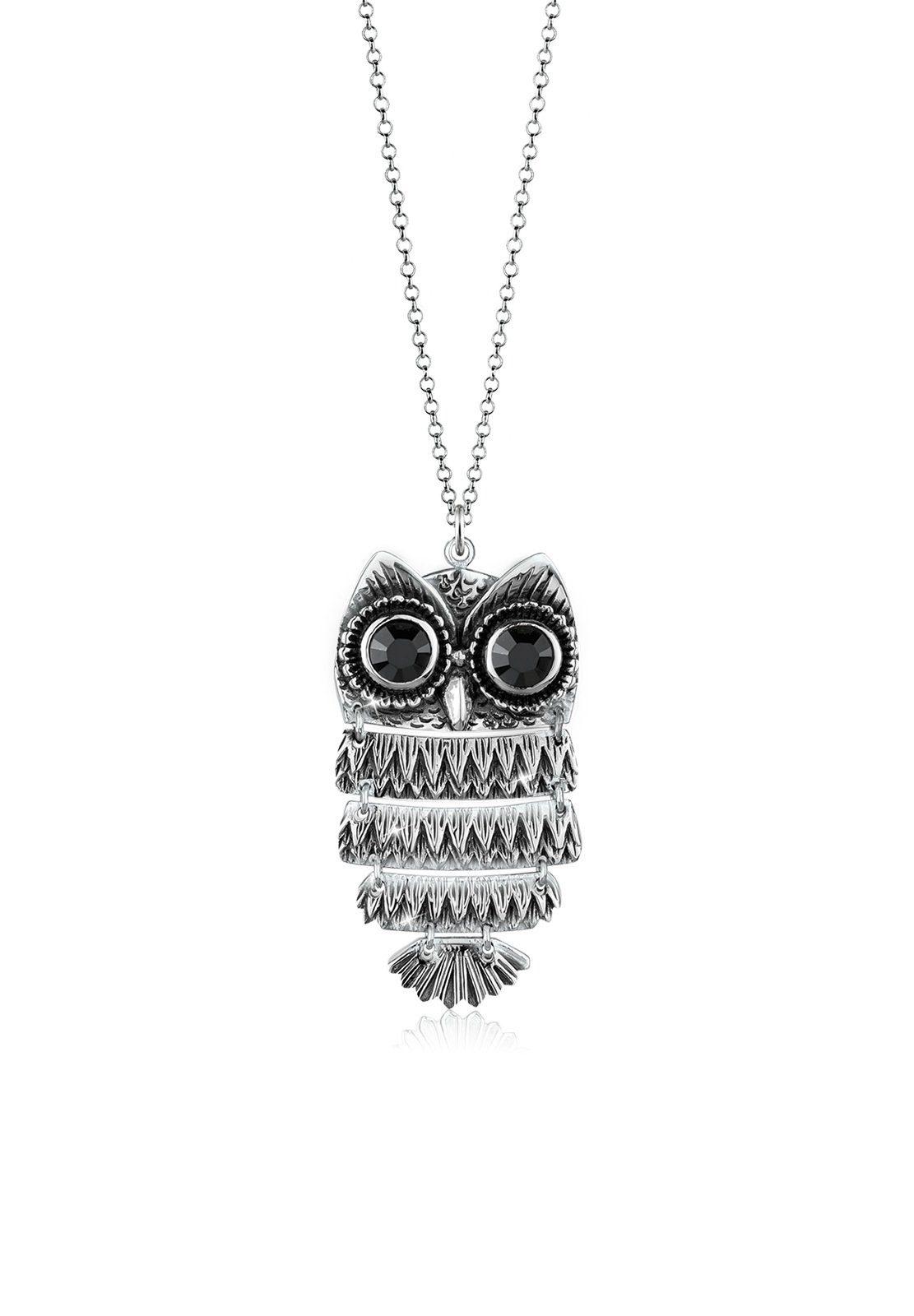 Elli Halskette »Eule Swarovski® Kristalle 925 Sterling Silber«