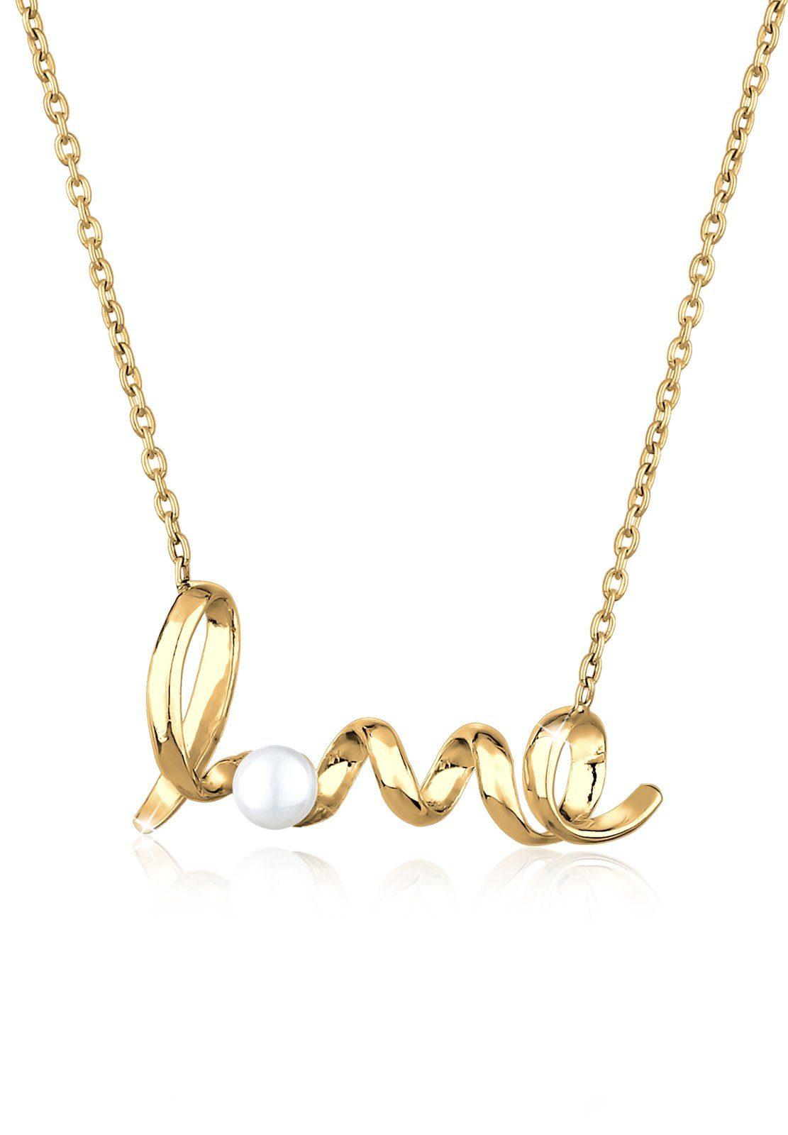Goldhimmel Halskette »Love Schriftzug Perle 925 Sterling Silber«