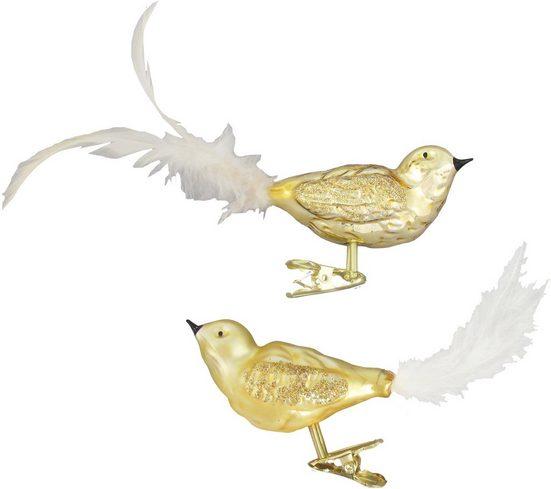 Krebs Glas Lauscha Weihnachtsbaumklammer »CBK81926« (2-tlg), Vogelsortiment