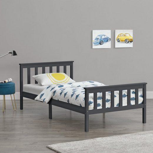 en.casa Holzbett, »Breda« Einzelbett Jugendbett mit Lattenrost in verschiedenen Farben und Größen