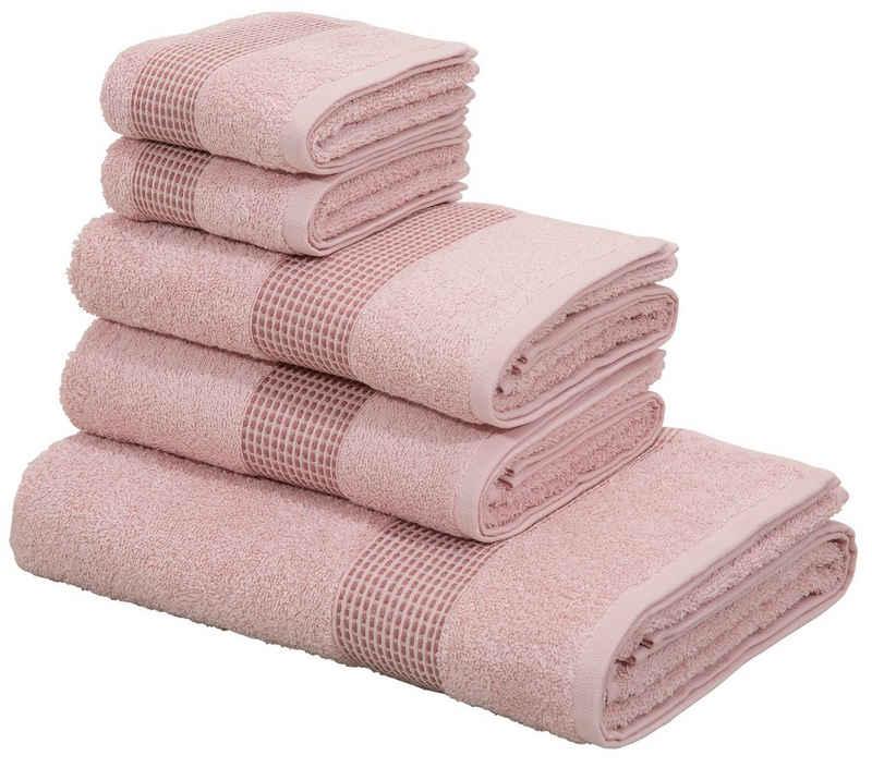 OTTO products Handtuch Set »Jannis« (Set, 5-tlg), mit dezent hochwertiger Bordüre