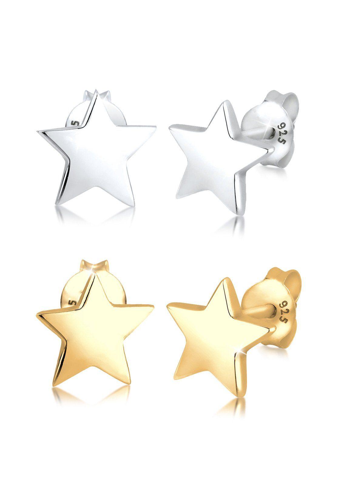 Elli Set: Ohrringe »Set Sterne Star Astro Bi-Color 925 Sterling Silber« 2 tlg.