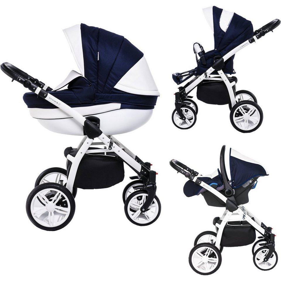 kinderwagen blau weiß