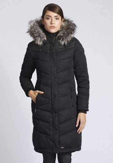 Khujo Quilted Coat Lubeck Long With Rib Collar With Removable Knit Collar