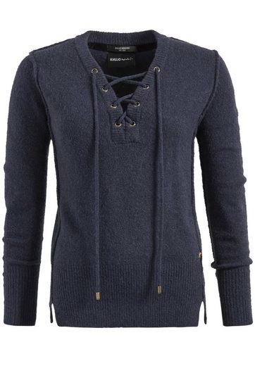 khujo V-Ausschnitt-Pullover NAYLA, mit Schnürung am Ausschnitt