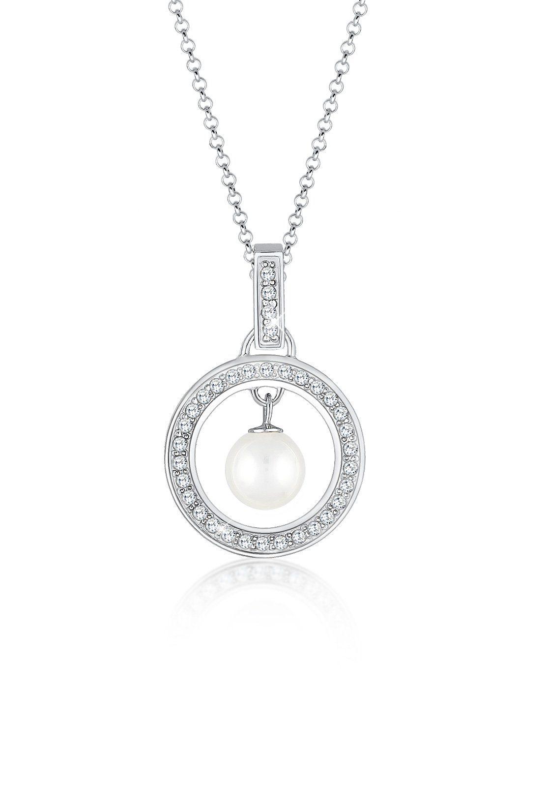 Elli Halskette »Kreis Zirkonia Perle 925 Silber«