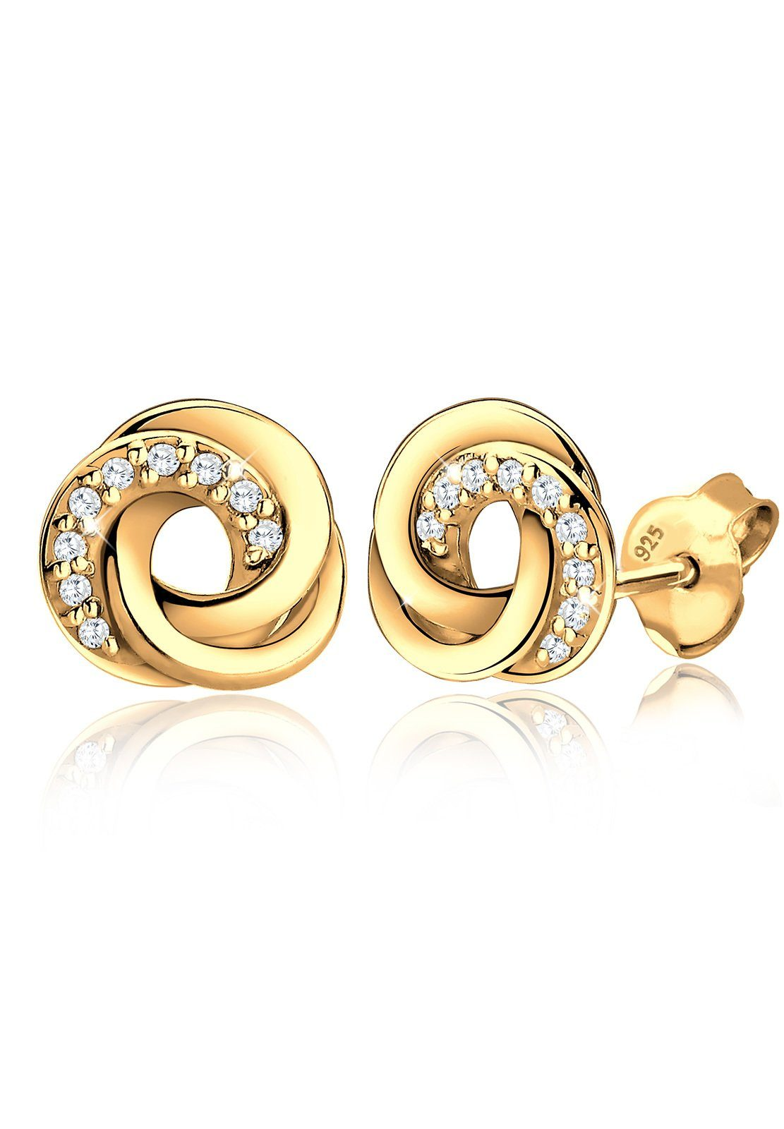 Goldhimmel Ohrringe »Spirale Zirkonia Elegant 925 Silber vergoldet S031«