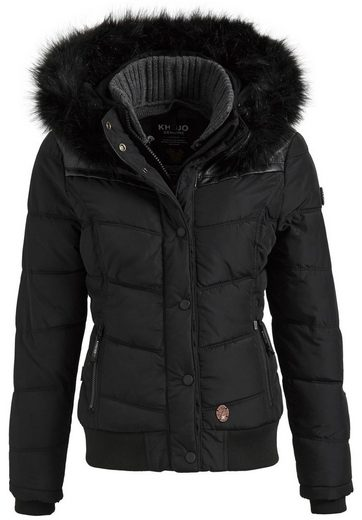 Khujo Quilted Jacket Goslar Ii With Rib Collar, Detachable Hood With Faux Fur