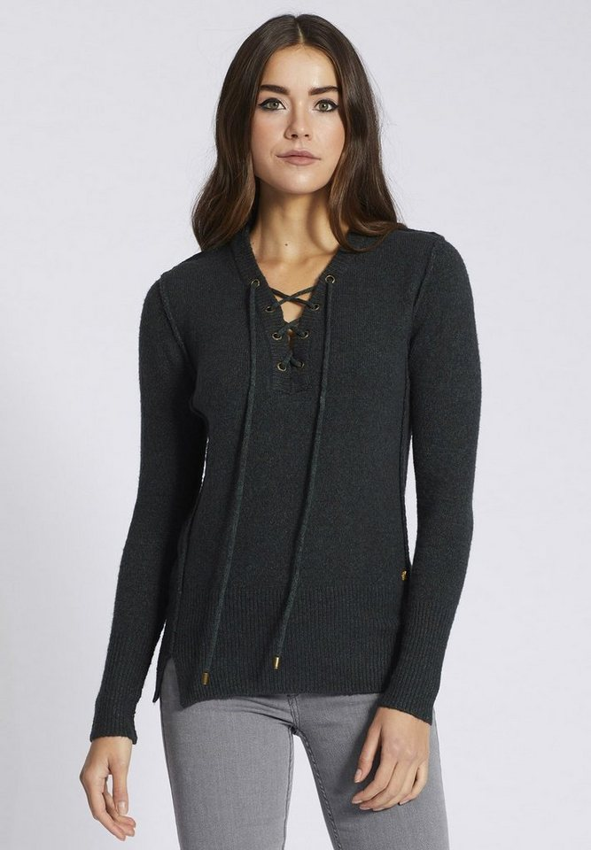 khujo V-Ausschnitt-Pullover »NAYLA« mit Schnürung am Ausschnitt