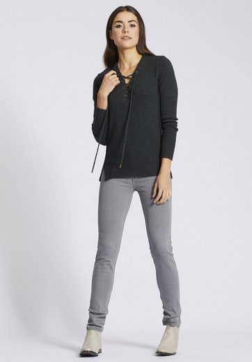 Khujo V-neck-sweater Nayla, With Lacing On Cutting