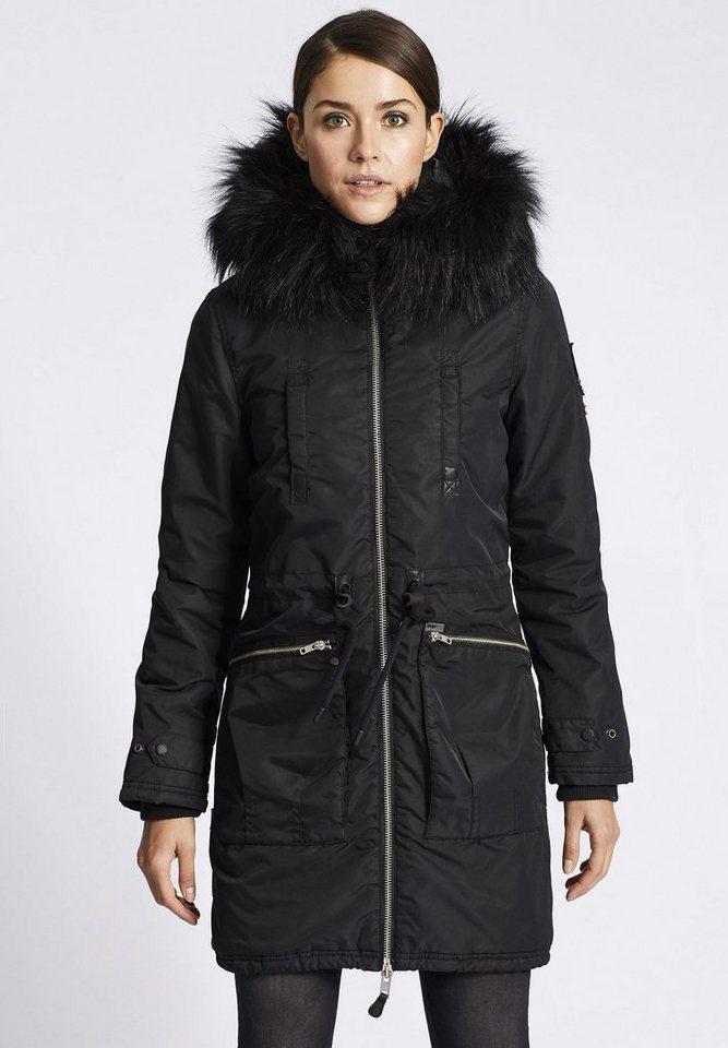 Damen khujo  Wintermantel ILENA mit abnehmbarer Kapuze schwarz | 04056852720128
