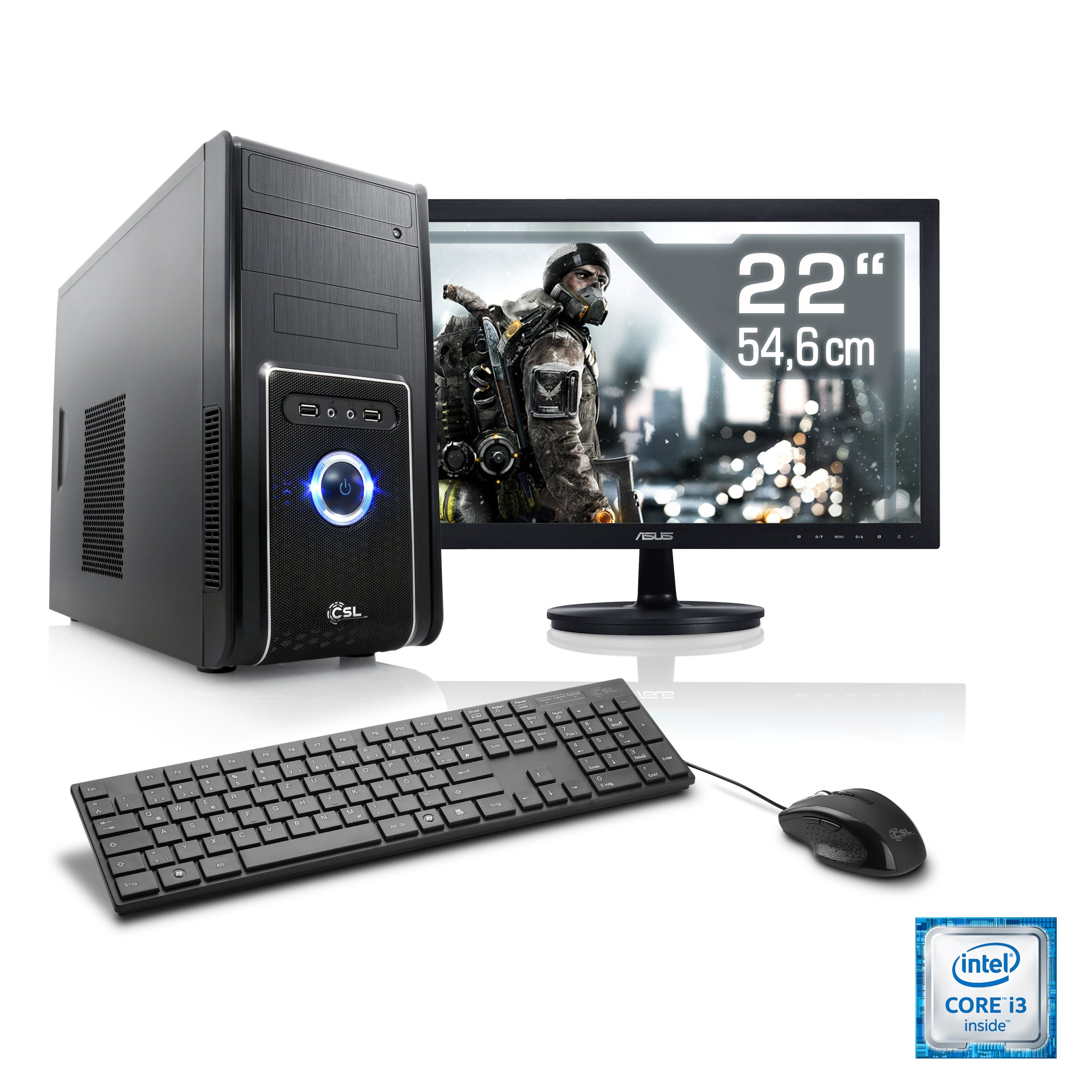 "CSL Multimedia PC Set | i3-7100 | GT 1030 | 8 GB RAM | 22"" TFT »Speed T5852 Windows 10 Home«"