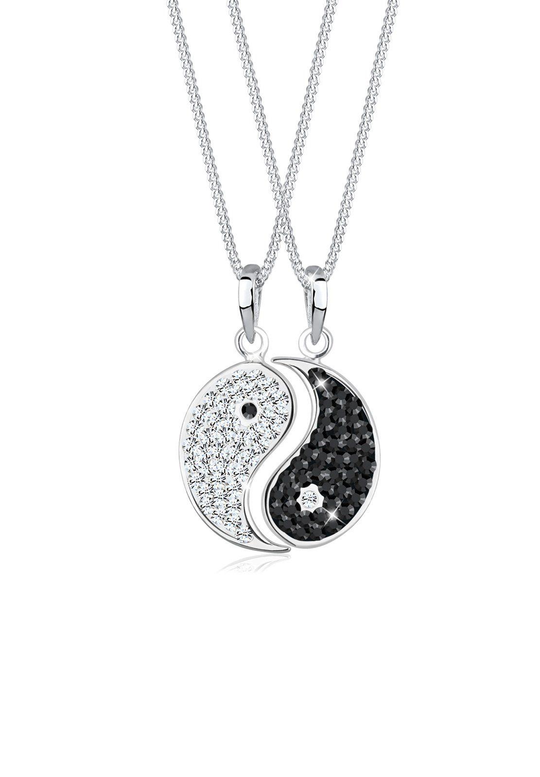 Elli Set: Halskette »Partner Yin Yang Swarovski® Kristalle Silber« 2 tlg.
