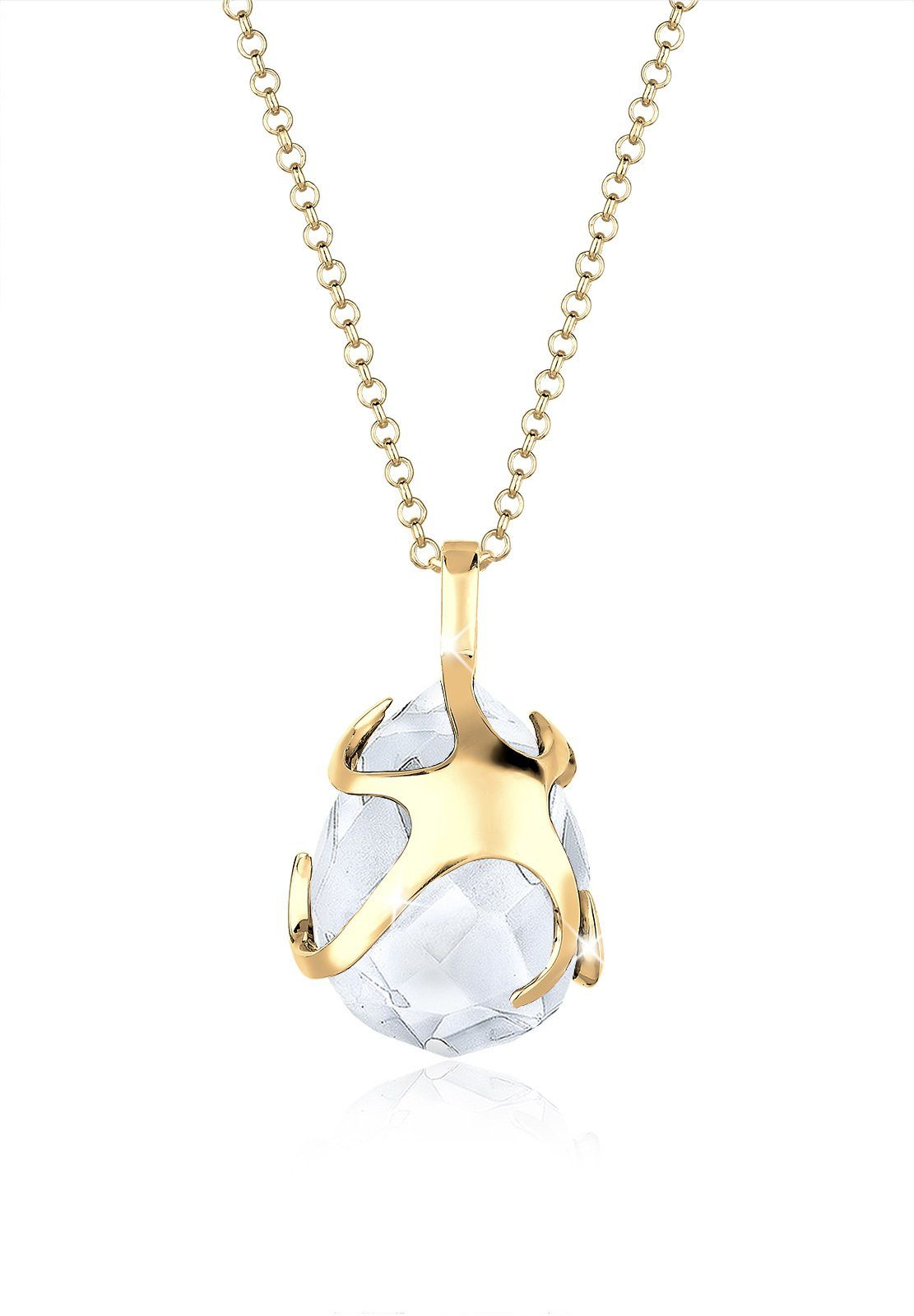 Goldhimmel Halskette »Tropfen Bergkristall 925 Sterling Silber vergoldet«