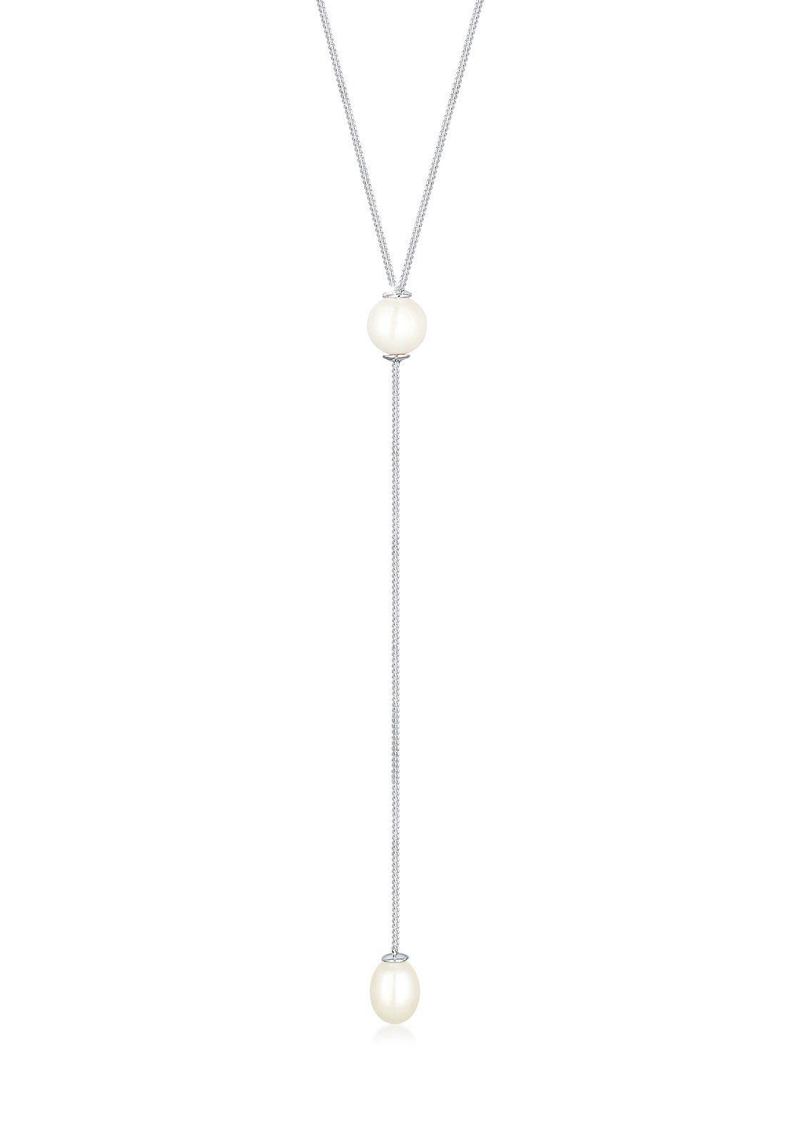Elli Halskette »Y-Kette Süßwasserzuchtperle 925 Sterling Silber«