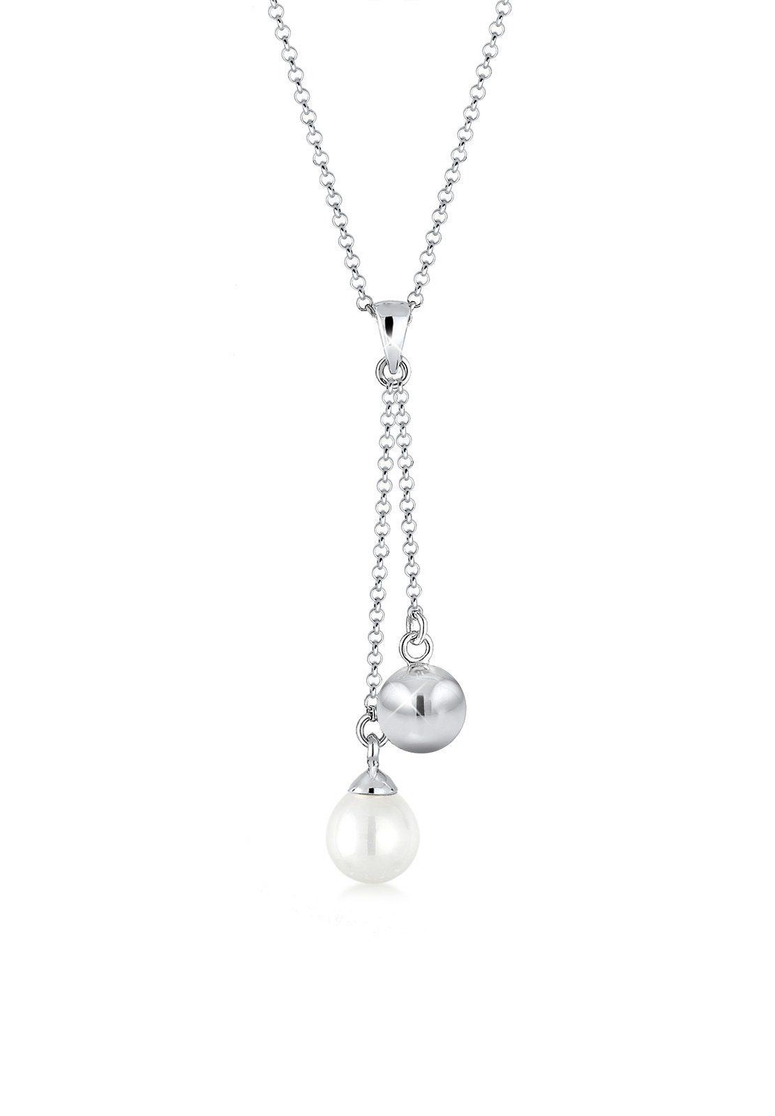 Elli Halskette »Y-Kette Perle Kugel 925 Sterling Silber«