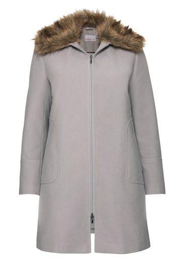 Sheego Class Short Coat, Fake Fur Collar Removable;