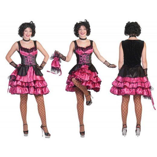 Can Can Tänzerin Damenkostüm pink-schwarz