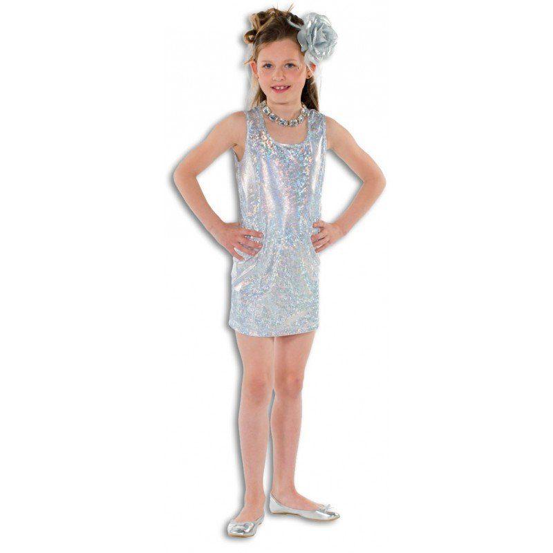 Glamour Disco Mädchenkostüm silber