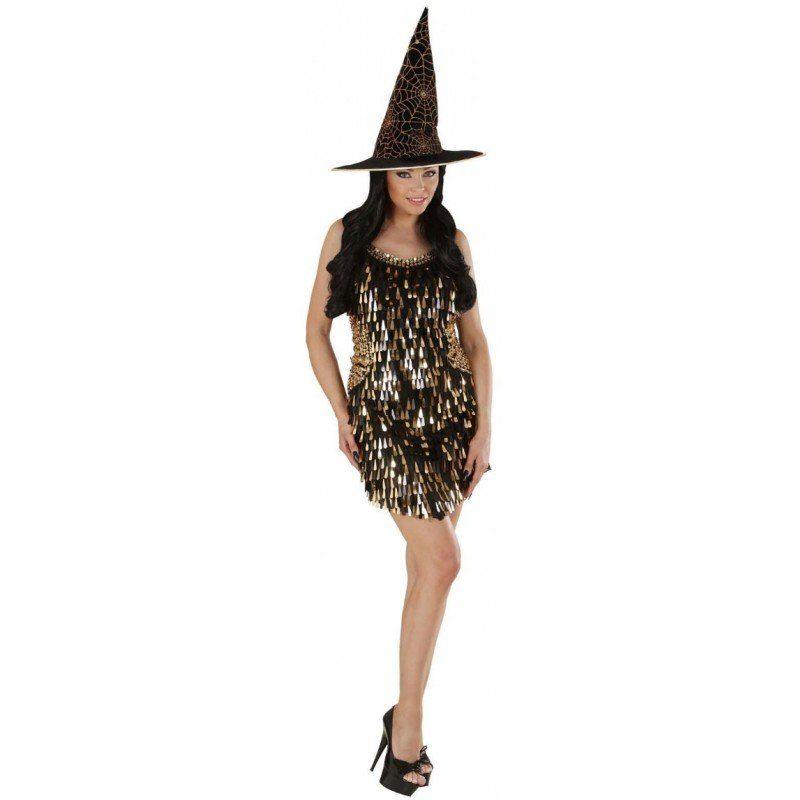 Halloween Paillettenkleid schwarz-gold