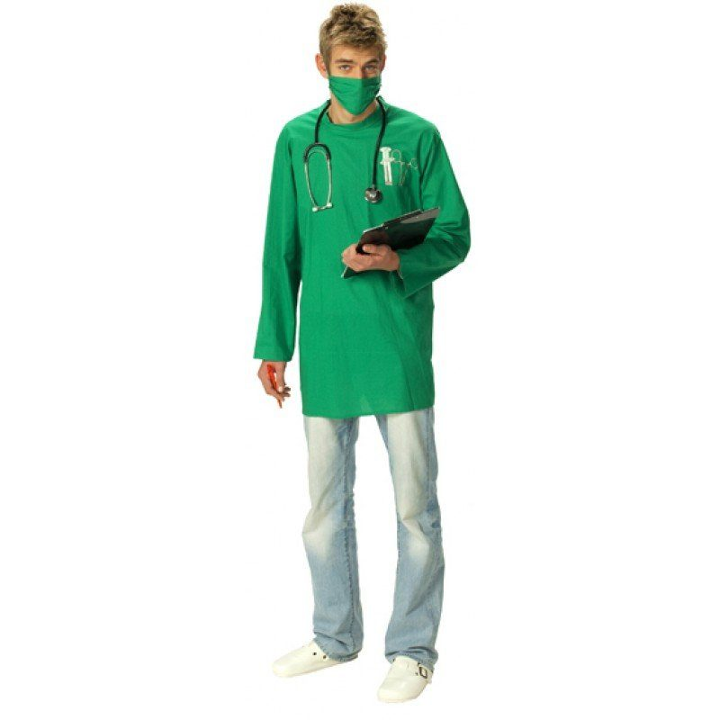 Chirurg OP-Kittel für Herren grün