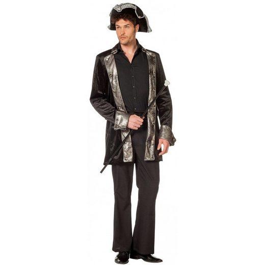 Premium Piraten Mantel schwarz-silber für Herren