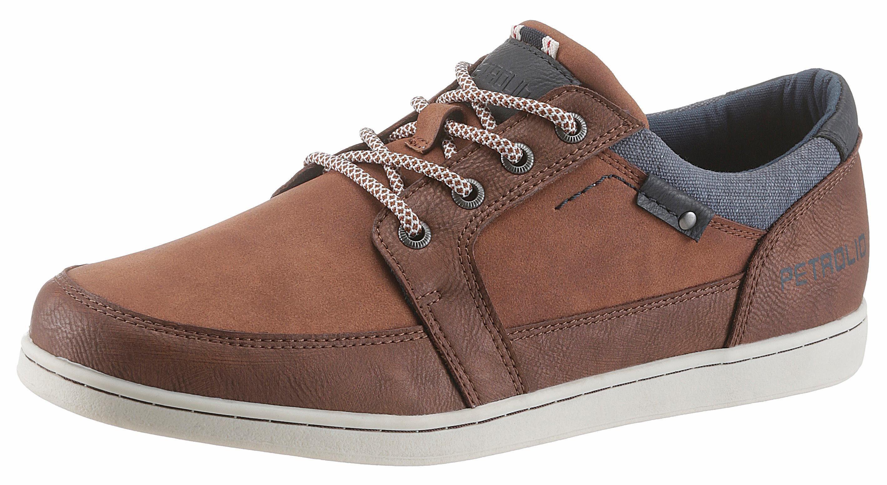 PETROLIO Sneaker, mit stylischem Jeans-Einsatz, braun, 41 41