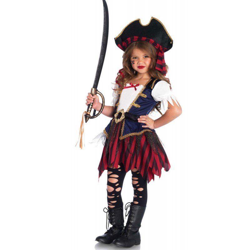 Unisex Karibik Piratin Kinderkostüm Deluxe bunt,  mehrfarbig | 00714718517964