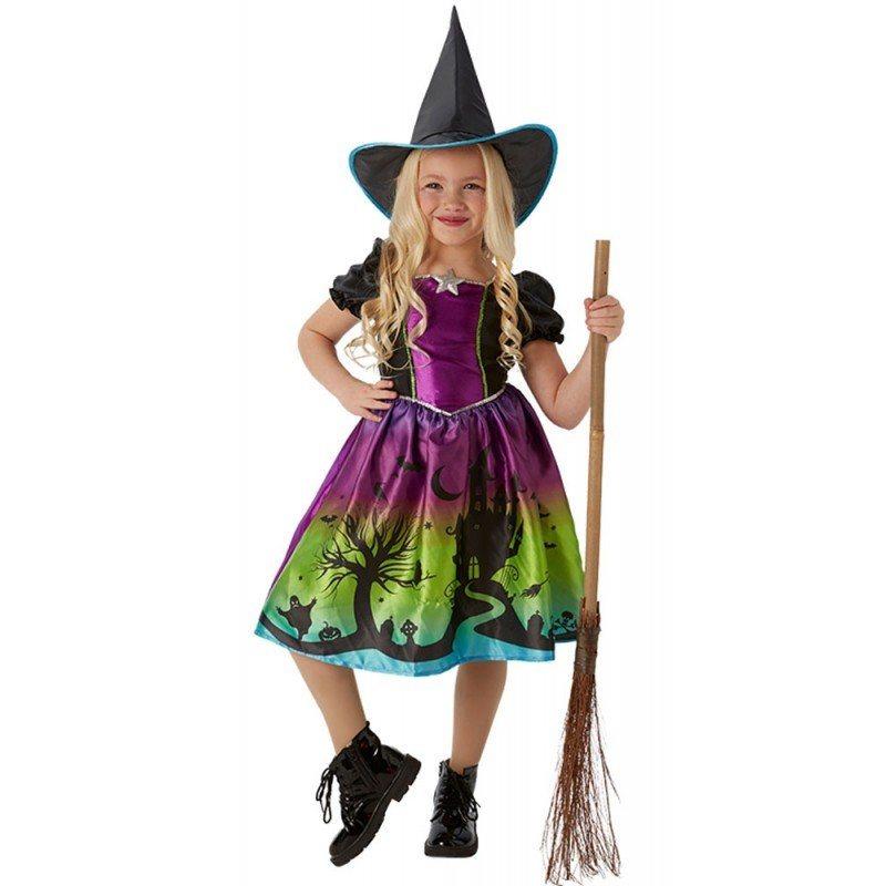 kleine magic hexe kinderkostuem mit puffaermeln