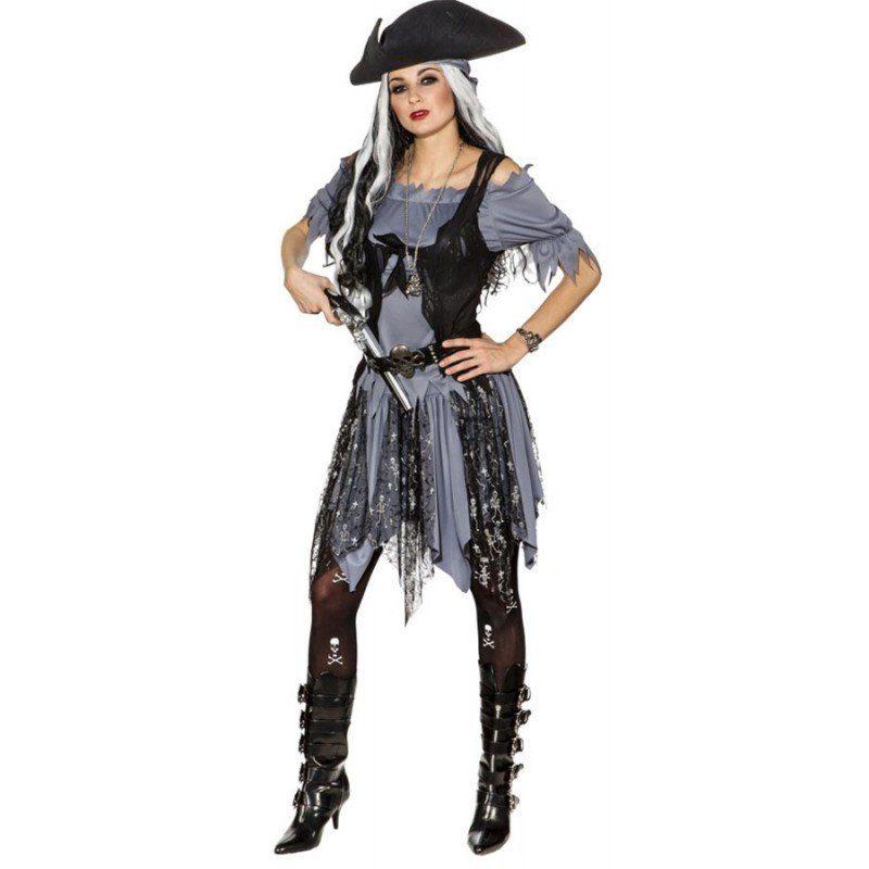 Gothic Piratin Emilia Damenkostüm, Skelett Aufdruck online kaufen | OTTO
