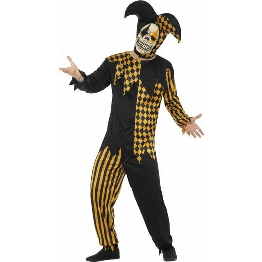 Creepy Jockey Jester Herrenkostüm schwarz-gold