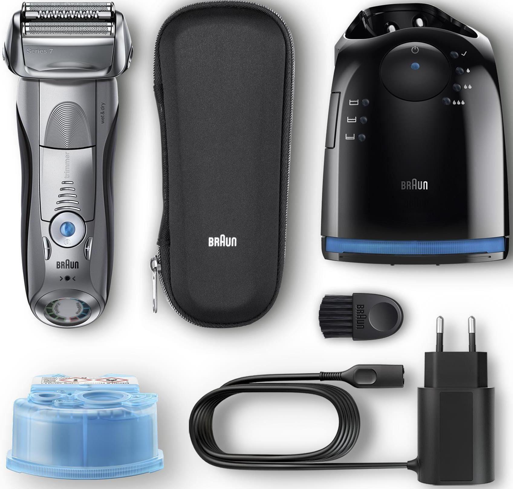 Braun Elektrorasierer Series 7 7898cc, 4-Stufen-Reinigungs- und Ladestation, SmartClick-Präzisionstrimmer, Wet&Dry
