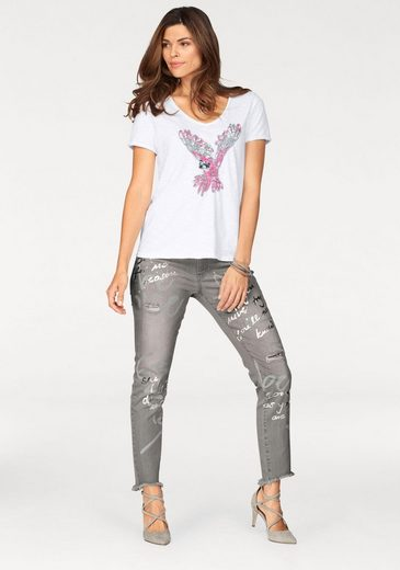 Monari T-Shirt, mit tollem Paillettenpapagei