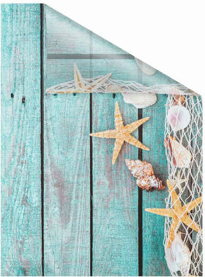 Fensterfolie »Bretter Beach«, LICHTBLICK ORIGINAL, blickdicht, strukturiert, selbstklebend, Sichtschutz
